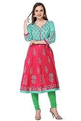 Aamii Women Block Printed Anarkali Kurta (Aamii-838-XXL, Pink, Green, XX-Large)