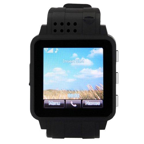 2014 New Excelvan® Bluetooth Smartwatch Phone Watch Hd Screen Unlocked Watch Cell Phone(Gsm Bluetooth Java Camera Sos Function)For Samsung Htc Sony Zp600+ Open Hole 3D Sharp Android Phone (Black)