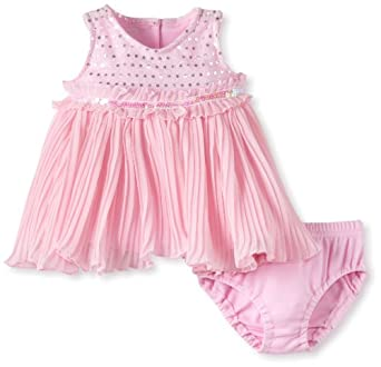 Young Hearts Baby-girls Newborn 2 Piece Pleat Knit Dress And Panty, Blush, 0-3 Months