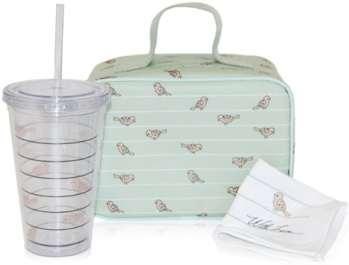 xo(eco) by BlueAvocado Lunch Kit with Lunch Case, Sage Birds - 1