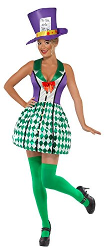 Smiffy's Women's Lady Mad Hatter Costume with Dress and Hat