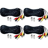 VideoSecu 4 Pack 50ft Feet Pre-made All-in-One Audio Video Power Security Camera Cables BNC RCA CCTV Wires Cords for DVR Home Surveillance System with Bonus BNC/RCA Connectors 1LS