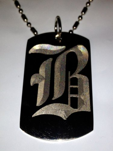 Letter B Old English Font Initial - Military Dog Tag, Luggage Tag Key Chain Metal Chain Necklace front-952632