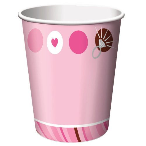 Creative Converting Bridal Shower 8 Count Paper Cups, 9-Ounce, Bride to be Dots