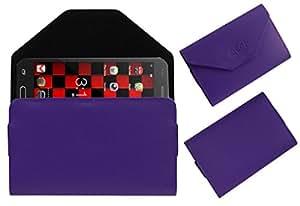 Acm Premium Pouch Case For Auxus Linea L1 Flip Flap Cover Holder Purple