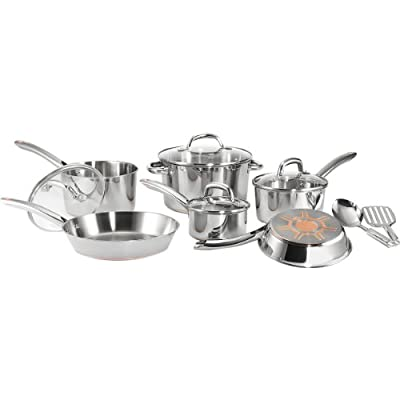 T-fal C798SC64 Ultimate Stainless Steel Copper-Bottom Multi-Layer Base 12-Piece Cookware Set, Silver