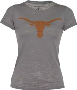 Texas Longhorns Women's Charcoal Mascot Burnout T-Shirt
