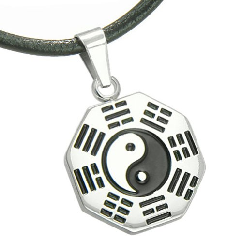 Amulet Yin Yang BA GUA Eight Trigrams Steel Lucky Charm Leather Pendant Necklace