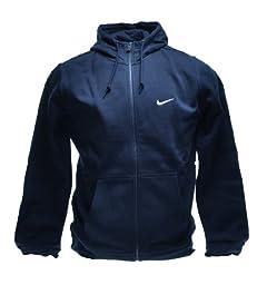 Nike Classic Club Swoosh Fleece Hoodie Full Zip Men\'s Sweatshirt Obsidian Navy 611456-473 (Size L)