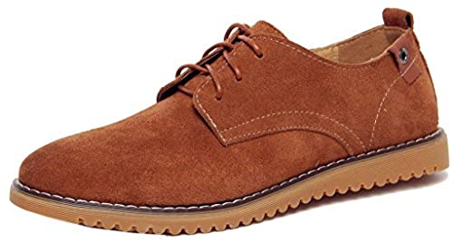 3. DADAWEN Men's Lace-Up Suede Leather Oxford