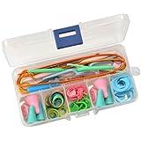 Leegoal Knitting Accessory Kit Basic Tool Set & Plastic Clear Color Tool Case