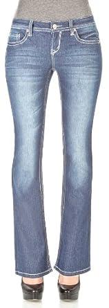 WallFlower Juniors Long Inseam Basic Legendary Bootcut Jeans in Kristen Size: 3