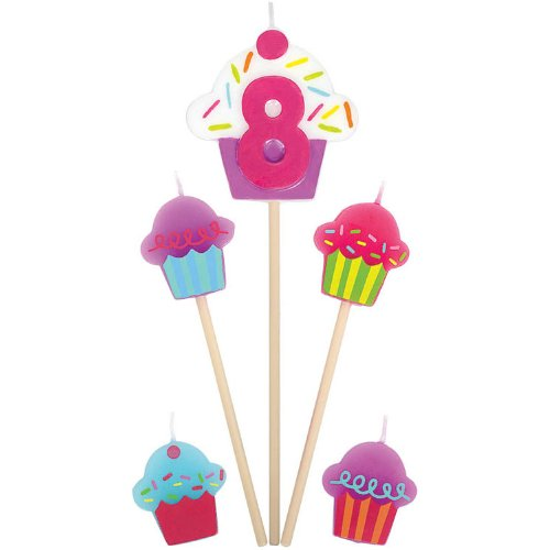 """8"" Birthday Cupcake Pick Candles"
