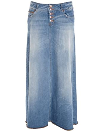 crafted denim maxi skirt blue womens 10 co