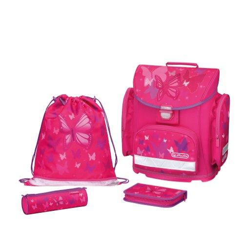 Herlitz 11352150 - Schulranzen-Set-4tlg Midi Plus Pink Butterfly