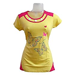 revin yellow with pink colour round neck tshirt
