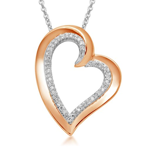 18k Rose Gold Plated Sterling Silver Heart Pendant Necklace (1/6 cttw, I-J Color, I3 Clarity), 18