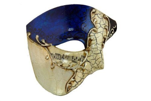 Venetian Mask Exclusive w/ Blue Musical Half Face Mask Men's Masquerade Mask by Masquerade Masks