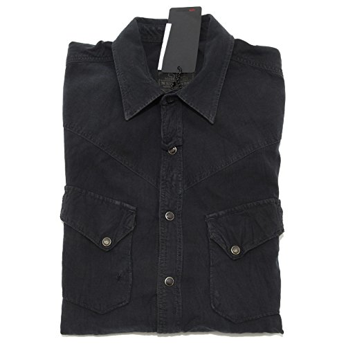 5758L camicia uomo nera CYCLE manica lunga camicie shirts men [L]