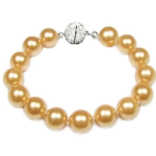 Bling Jewelry Bridal 12mm South Sea Shell Golden Pearl Bracelet