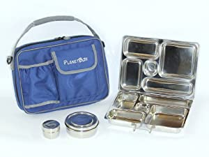PlanetBox Rover Lunchbox - Blue Carry Bag with Dinosaur Magnets