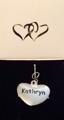 Kathryn ~ Silver-Tone Metal Personalized Name Charm! Heart Shaped! Top Quality ~ Name On Both Sides!