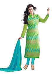 DnVeens Cotton Chanderi Embroidery Unstiched Salwar Suits Dress Material for Women
