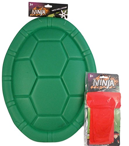 [Ninja Turtle Halloween Costume - Bundle of 2 Items Shell and Set of Head and Armbands (Red -] (Red Ninja Turtle Costumes)