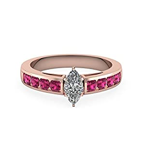 1.25 Ct Marquise Diamond Pink Sapphire Women Gold Engagement Rings For Women GIA (D Color, SI1 Clarity)