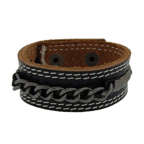 Genuine Leather Studs & Chains Black Vintage Biker Bracelet