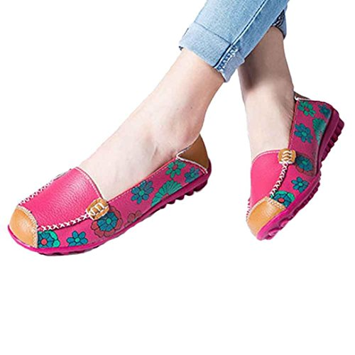 Fheaven New Women Leather Shoes Loafers Soft Leisure Flats Female Casual Shoes Boat Shoes Flats (US:8, Hot Pink)