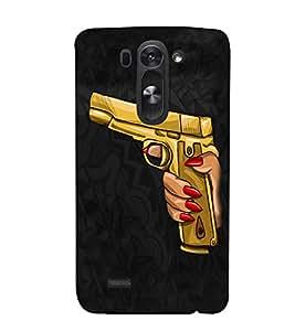 PrintVisa Golden Revolver Gun Art 3D Hard Polycarbonate Designer Back Case Cover for LG G3 BEAT