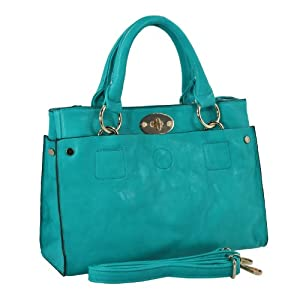 MG Collection AMANDA Stylish Petite Turquoise Purse Shoulder Bag Style Satchel Handbag