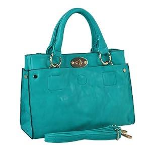 MG Collection AMANDA Stylish Petite Turquoise Purse Shoulder Bag Style Satchel Handbag