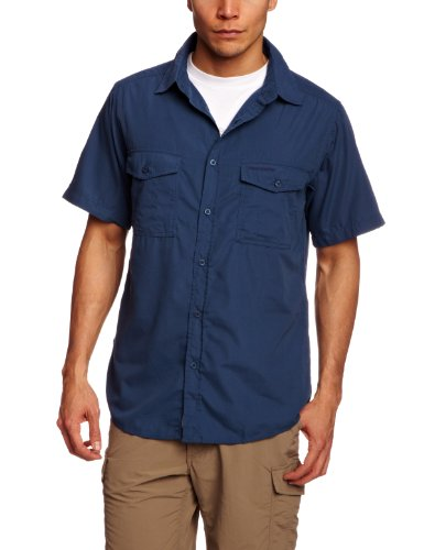 Craghoppers Kiwi - Camicia a maniche corte, Uomo, Viola (faded indigo), L