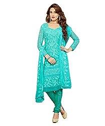 Rudra Fab Skyblue Karachi work semi stitched salwar suit dress material