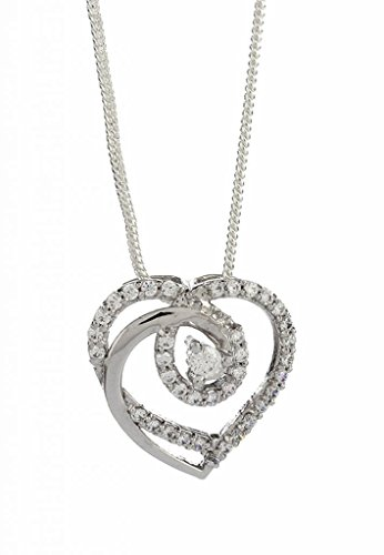 Emaira Jewellery Heart Shaped Love Pendant With Sterling Silver,Swarovski Zirconia,Rhodium Finish For Women Emp_120
