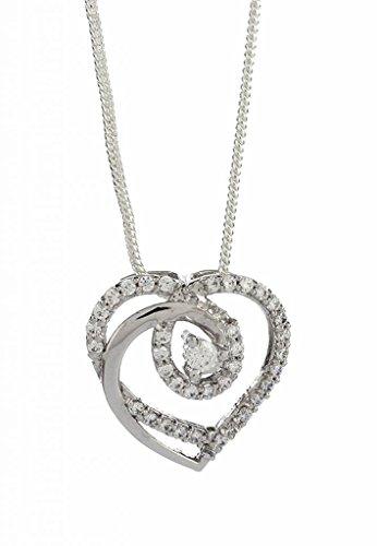 Emaira Jewellery Heart Shaped Love Pendant With Sterling Silver,Swarovski Zirconia,Rhodium Finish For Women Emp_120