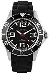 Mens Chisel 44mm Black Silicone Strap Watch