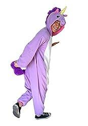 Adulte Unisexe Animal Costume Cosplay Combinaison Pyjama Outfit Nuit Fleece Halloween Unicorn (S(148-160CM), Purples)