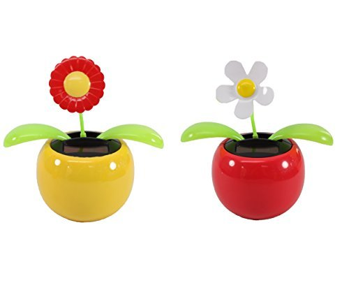 Set of 2 Dancing Flowers ~ 1 Red Sunflower in Yellow Pot + 1 White Daisy in Red Pot Solar Toy Flowers US Seller Great Holiday Christmas Gift Car Dashboard Office Desk Home Decor