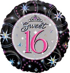 "Anagram International Sweet 16 Sparkle Prismatic Balloon, 18"", Multicolor"