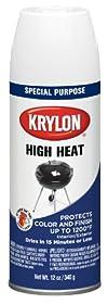 Krylon (1505-6 PK) White High Heat and Radiator Paint - 12 oz. Aerosol, (Case of 6)