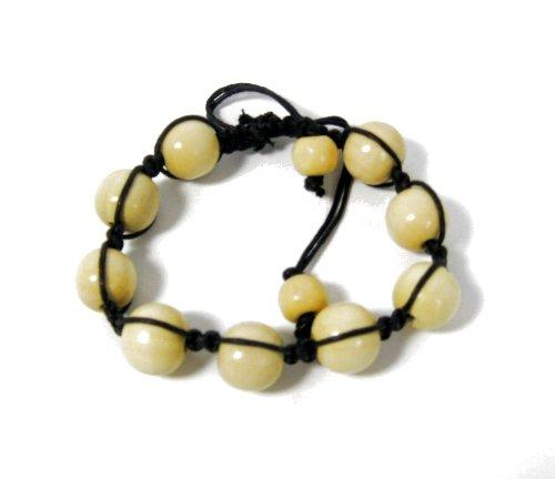 Boys/Mens Natural Wooden Bead Corded Bracelet in Cream