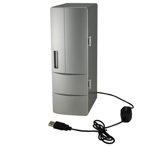 Mini USB PC Fridge Refrigerator Beverage Drink Can Cooler/Warmer Silver