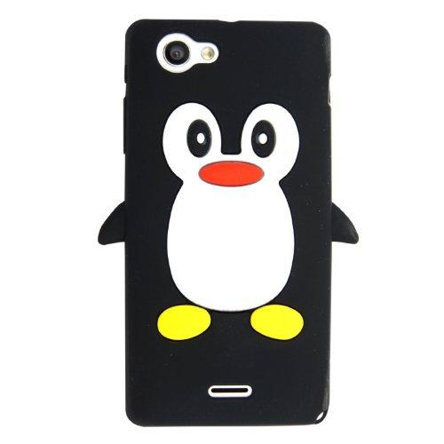 SKS Distribution® Schwarz Sony Xperia J ST26i Pinguin niedlichen Tier Silikonhülle Shell Beschützer Handy Smartphone Zubehör