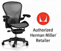 Hot Sale Herman Miller Aeron Chair Highly Adjustable with PostureFit Lumbar Support with Standard BB Carpet Casters - Large Size (C) Graphite Dark Frame, Classic Platinum Pellicle Mesh Home Office Desk Task Chair