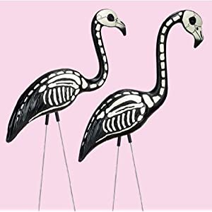 Skeleton Flamingo - Pink Flamingos Painted with Black and White Bone Structure - Halloween Decoration