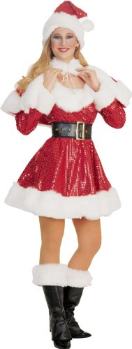Red Sequin Ms. Santa Costume - Adult Std.