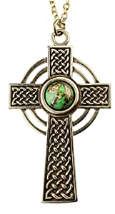 Small Celtic Cross with 8mm Persian Green Copper Turquoise Gemstone on Rolo Chain